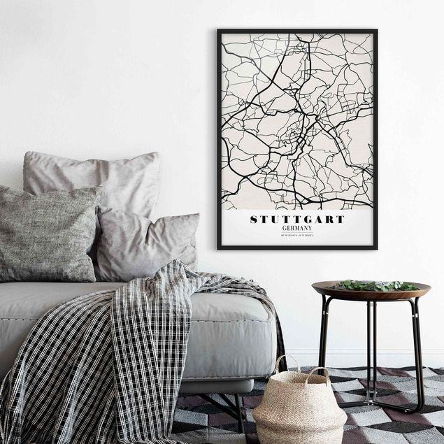 Bild mit Rahmen - Stadtplan Stuttgart - Klassik - Hochformat 3:4
