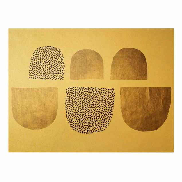 Leinwandbild Gold - Geometrischer Halbkreis III - Querformat 4:3