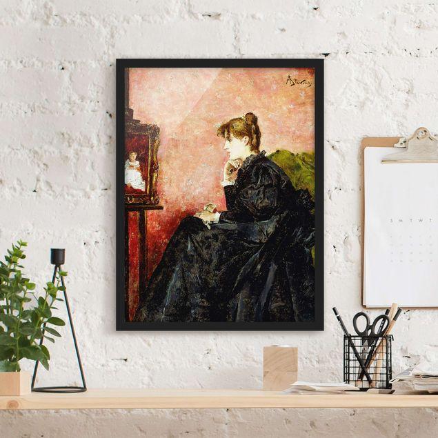 Bild mit Rahmen - Alfred Stevens - Dame in schwarz - Hochformat 3:4
