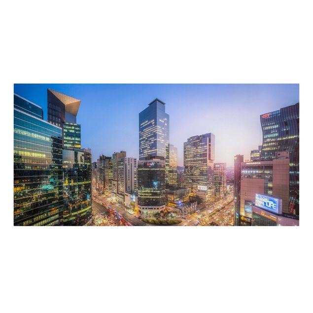 Leinwandbild - Stadtlichter von Gangnam - Querformat 2:1
