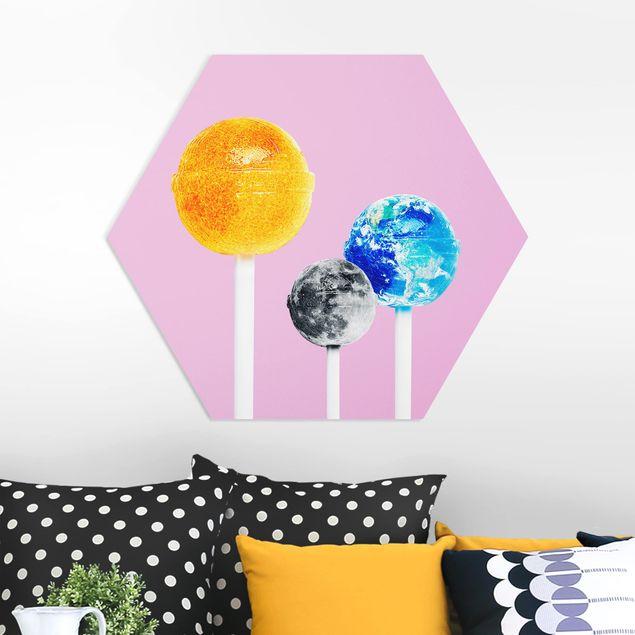 Hexagon Bild Forex - Jonas Loose - Lollipops mit Planeten