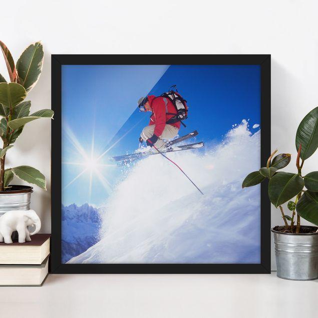 Bild mit Rahmen - Skisprung - Quadrat 1:1