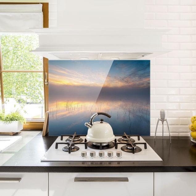 Glas Spritzschutz - Sonnenaufgang schwedischer See - Querformat - 4:3