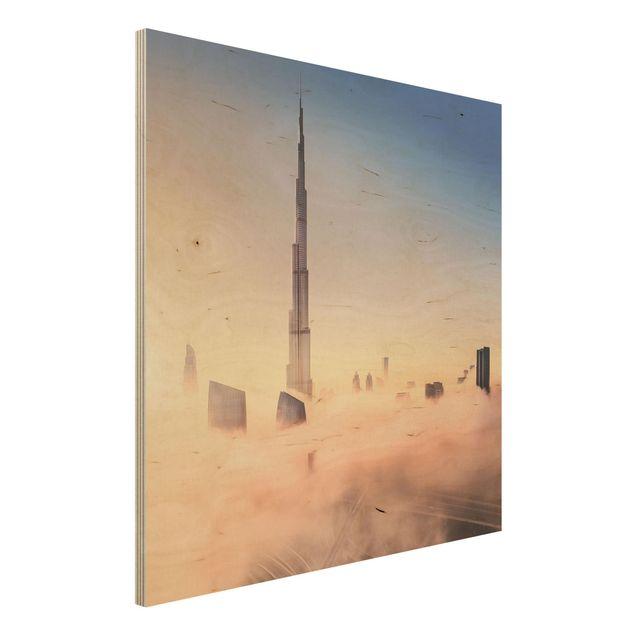 Holzbild - Himmlische Skyline von Dubai - Quadrat 1:1