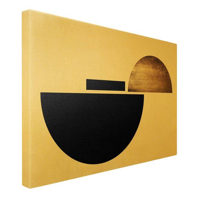 Leinwandbild Gold - Geometrischer Halbkreis I - Querformat 3:2