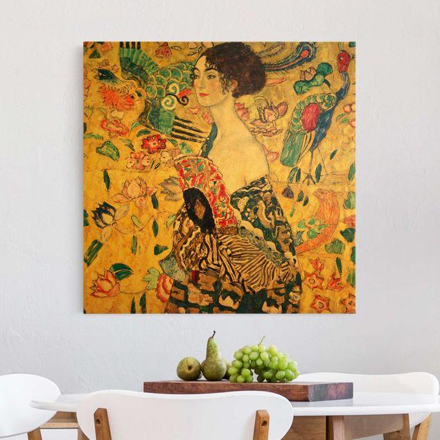 Leinwandbild Gold - Gustav Klimt - Dame mit Fächer - Quadrat 1:1