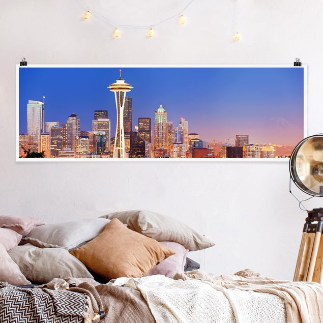 Poster - Nightlife Of Seattle - Panorama Querformat