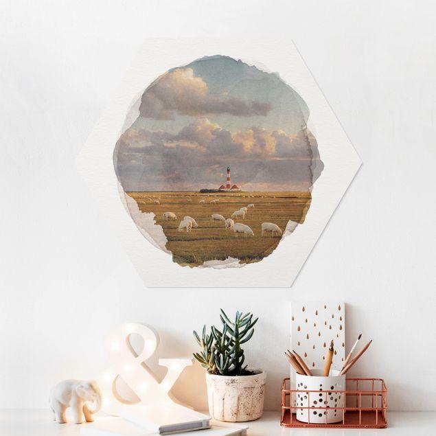 Hexagon Bild Forex - Wasserfarben - Nordsee Leuchtturm mit Schafsherde