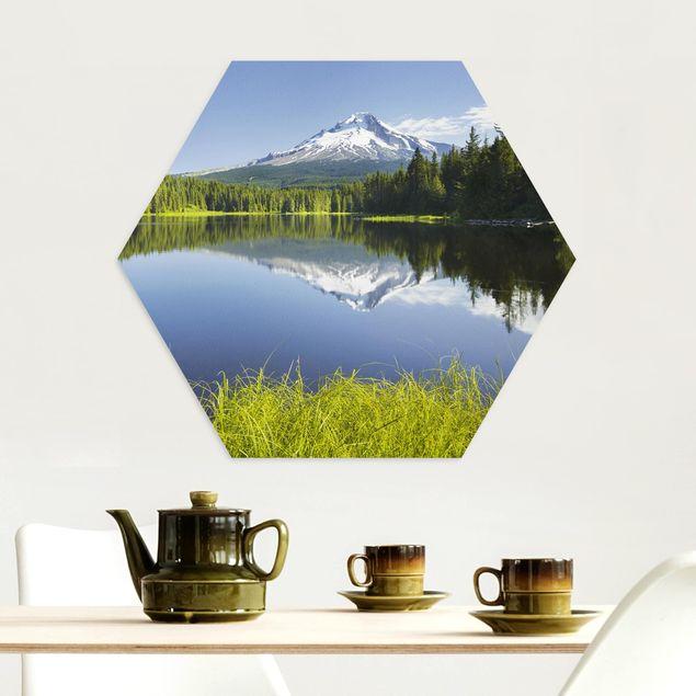 Hexagon Bild Alu-Dibond - Vulkan mit Wasserspiegelung