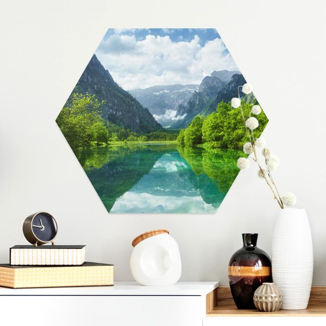 Hexagon Bild Alu-Dibond - Bergsee mit Spiegelung
