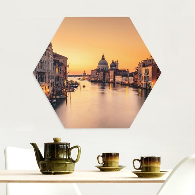 Hexagon Bild Alu-Dibond - Goldenes Venedig