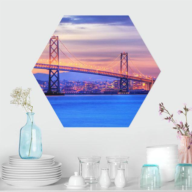 Hexagon Bild Alu-Dibond - Bay Bridge