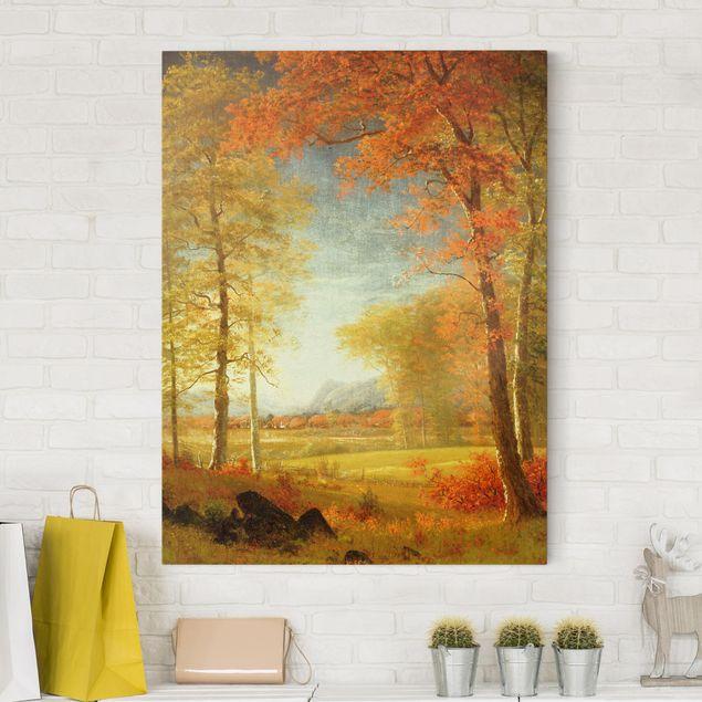 Leinwandbild - Albert Bierstadt - Herbst in Oneida County, New York - Hochformat 4:3