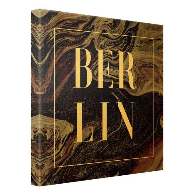 Leinwandbild Gold - Abstrakte Malerei - Berlin - Quadrat 1:1