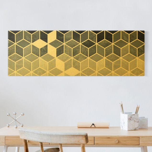 Leinwandbild Gold - Goldene Geometrie - Blau Weiß - Panorama 3:1