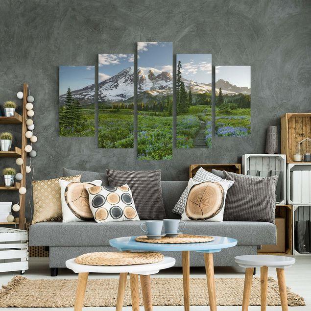 Leinwandbild 5-teilig - Bergblick Wiesenpfad