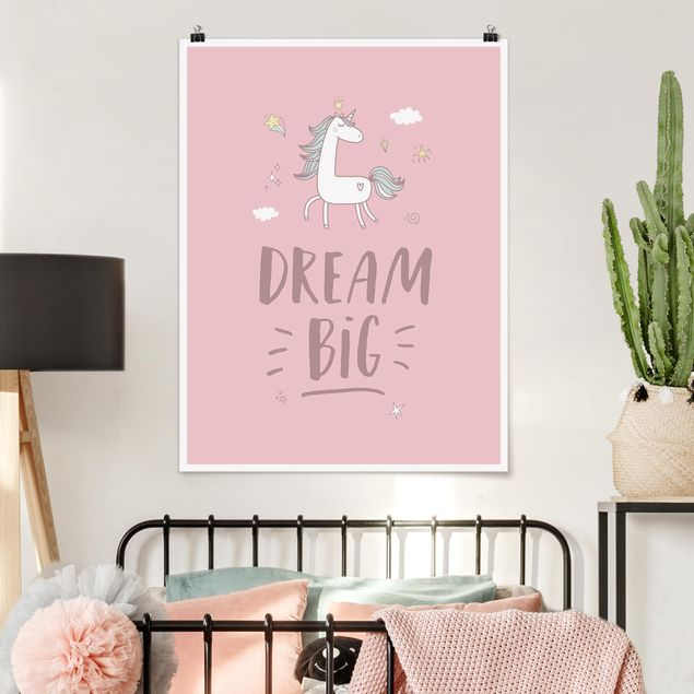 Poster - Dream big Unicorn - Hochformat 3:4