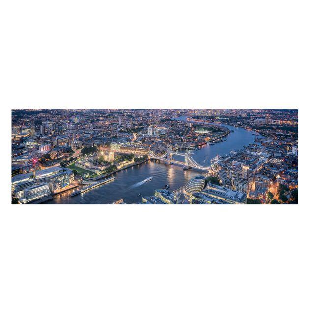 Leinwandbild - Nachts in London - Panorama 3:1