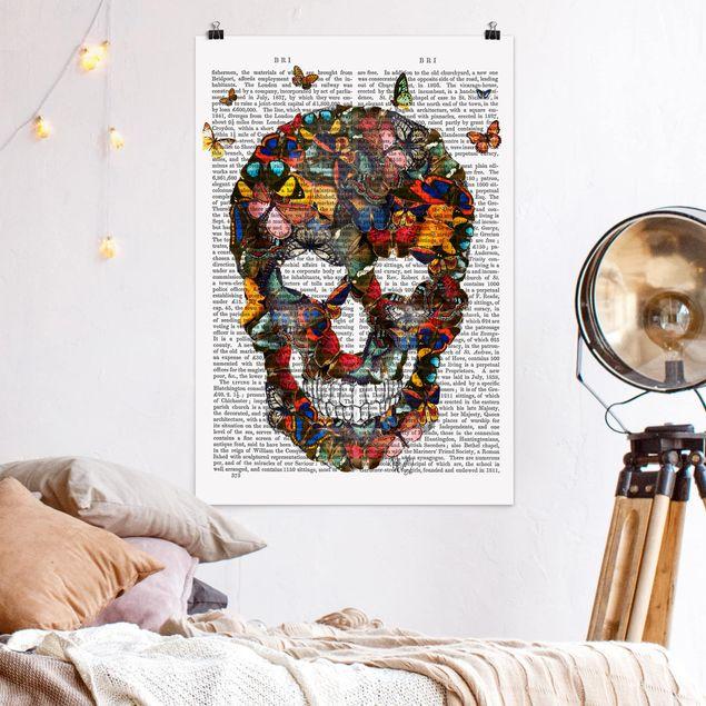 Poster - Grusellektüre - Schmetterlingsschädel - Hochformat 3:2