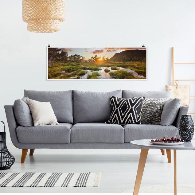 Poster - Tverrdalsbekken in Norwegen - Panorama Querformat