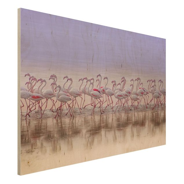 Holzbild - Flamingo Party - Querformat 2:3