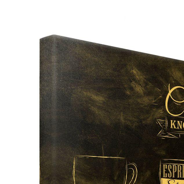 Leinwandbild Gold - Kaffeesorten Kreidetafel - Querformat 4:3