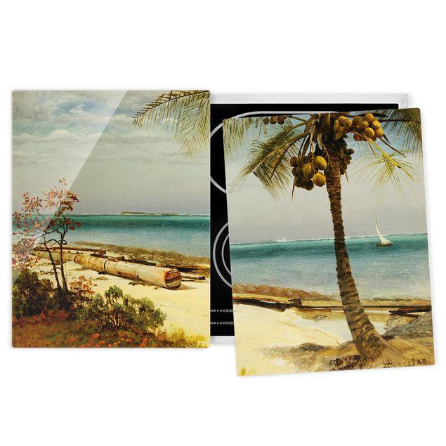 Herdabdeckplatte Glas - Albert Bierstadt - Küste in den Tropen - 52x80cm