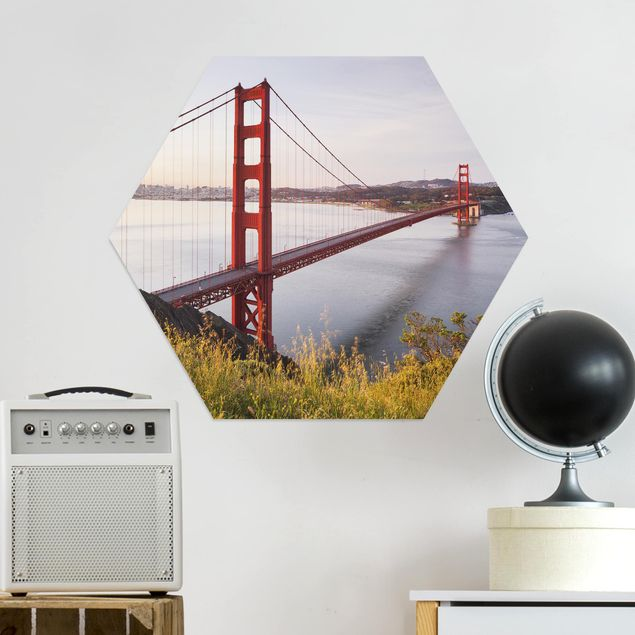 Hexagon Bild Alu-Dibond - Golden Gate Bridge in San Francisco