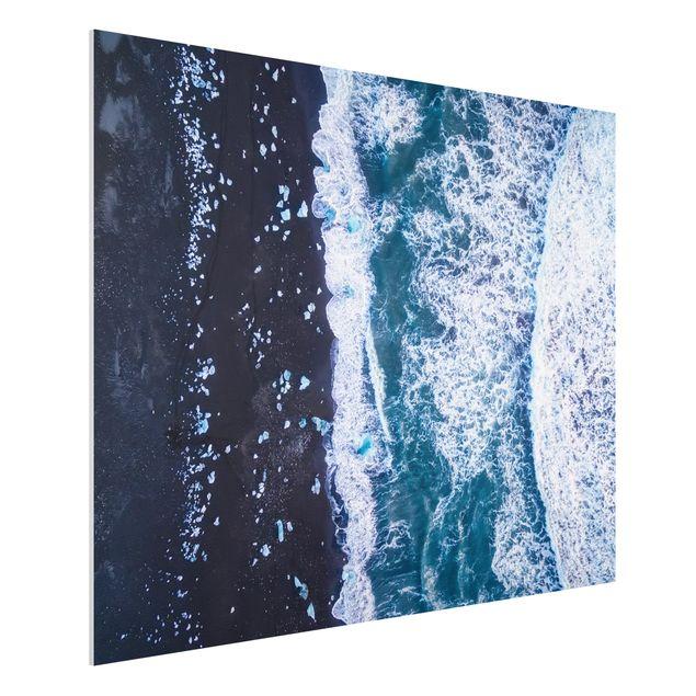 Forex Fine Art Print - Luftbild - Jökulsárlón in Island vertikal - Querformat 3:4
