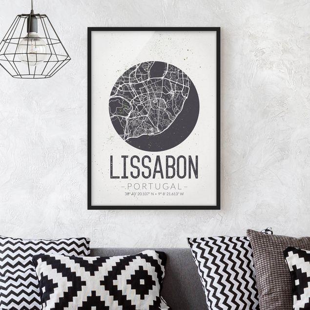 Bild mit Rahmen - Stadtplan Lissabon - Retro - Hochformat 3:4