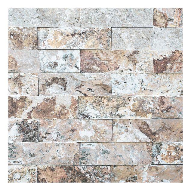 Glas Spritzschutz - Naturmarmor Steinwand - Quadrat - 1:1