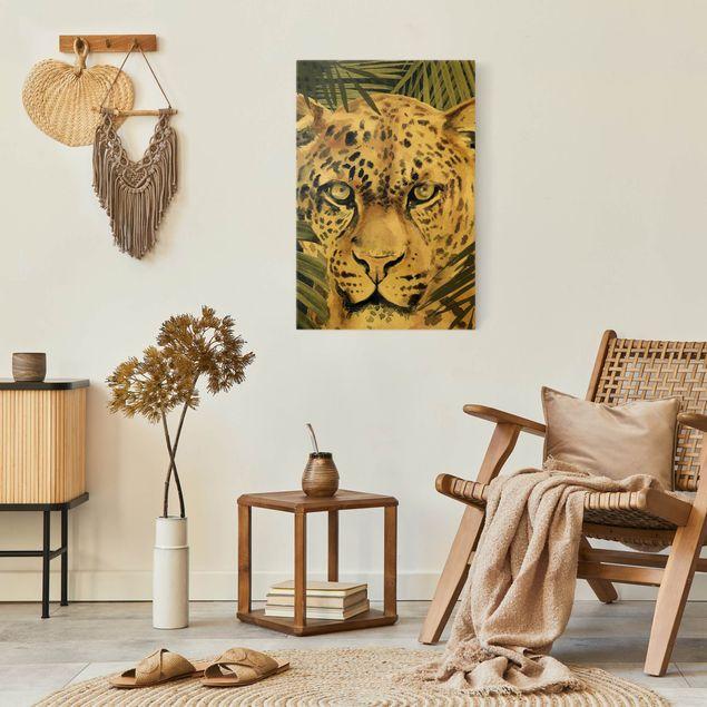 Leinwandbild Gold - Leopard im Dschungel - Hochformat 2:3