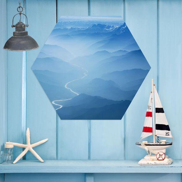 Hexagon Bild Alu-Dibond - Blick über den Himalaya