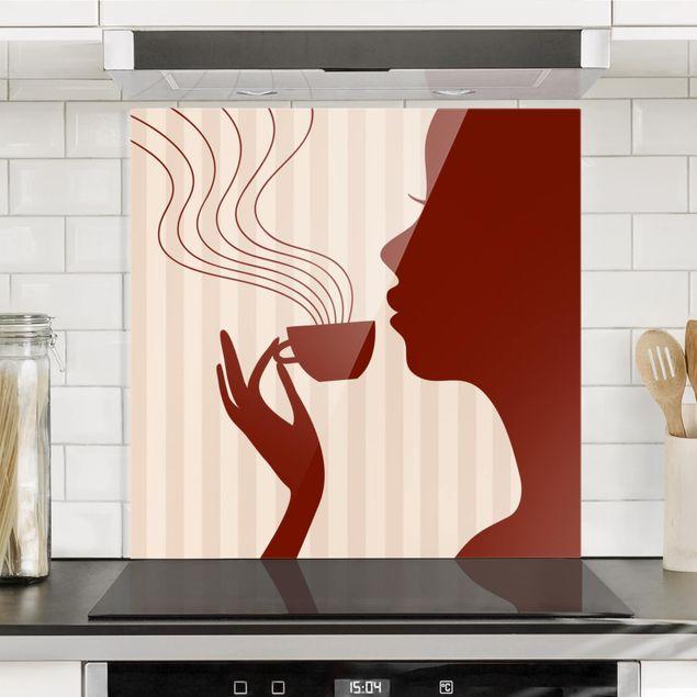 Glas Spritzschutz - Hot Coffee - Quadrat - 1:1
