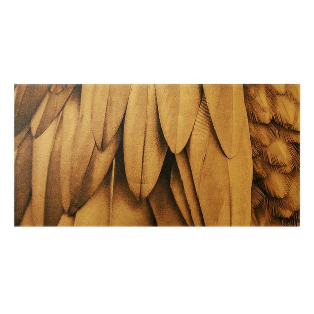 Leinwandbild Gold - Federn in Rosegold - Querformat 2:1