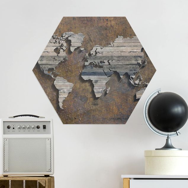 Hexagon Bild Alu-Dibond - Holz Rost Weltkarte