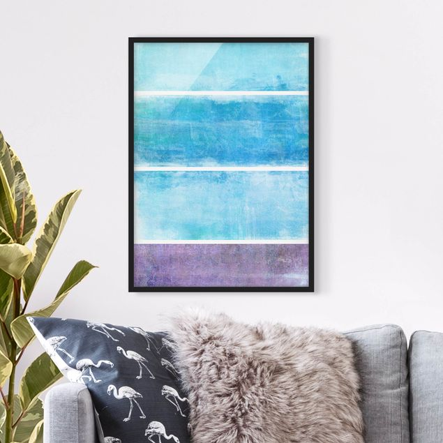 Bild mit Rahmen - Colour Harmony Blue - Hochformat 3:4