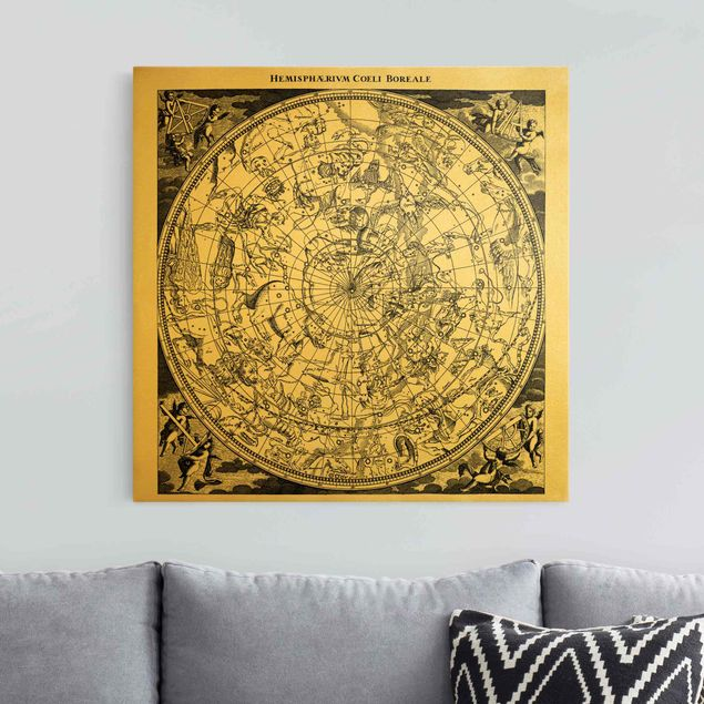 Leinwandbild Gold - Die nördliche Hemisphäre - Quadrat 1:1