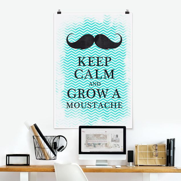 Poster - No.YK26 Keep Calm and Grow a Moustache - Hochformat 3:2
