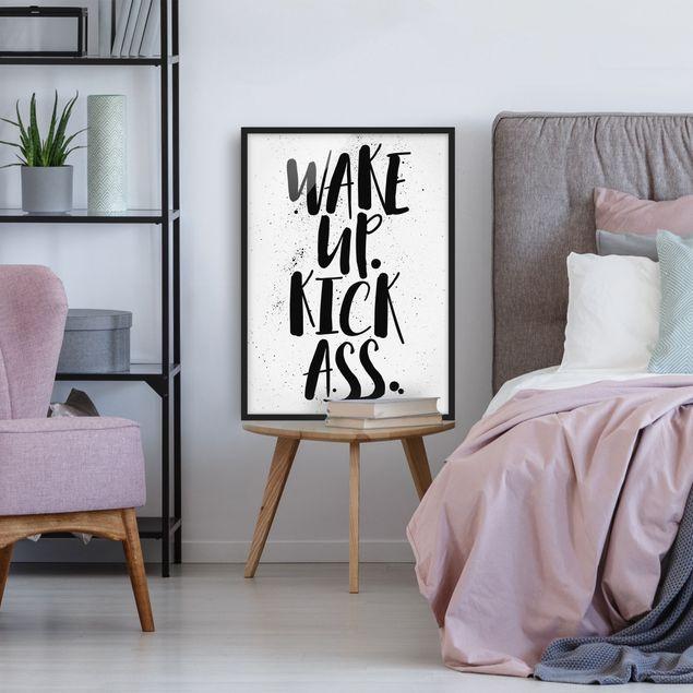 Bild mit Rahmen - Wake up. Kick Ass. - Hochformat 3:4