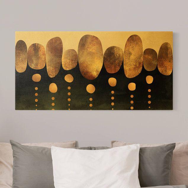 Leinwandbild Gold - Abstrakte goldene Steine - Querformat 2:1