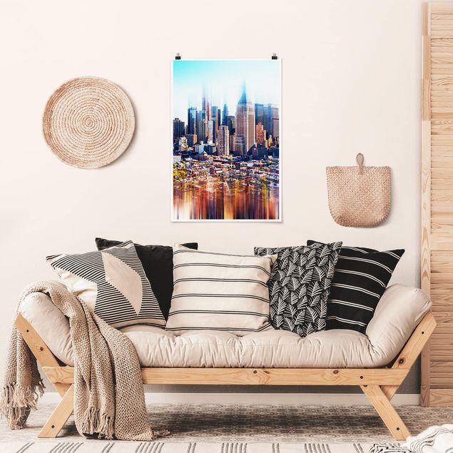 Poster - Manhattan Skyline Urban Stretch - Hochformat 3:2