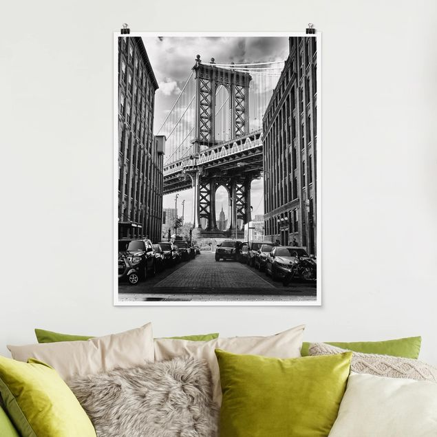 Poster - Manhattan Bridge in America - Hochformat 3:4