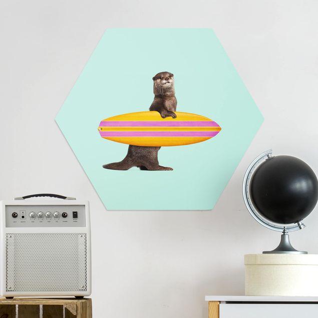 Hexagon Bild Alu-Dibond - Jonas Loose - Otter mit Surfbrett