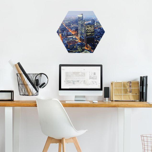 Hexagon Bild Alu-Dibond - Frankfurt