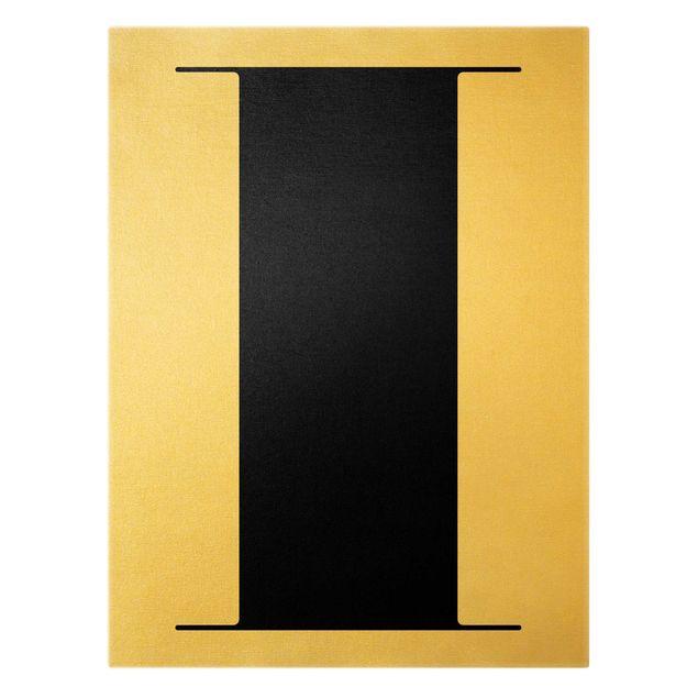 Leinwandbild Gold - Antiqua Letter I - Hochformat 3:4