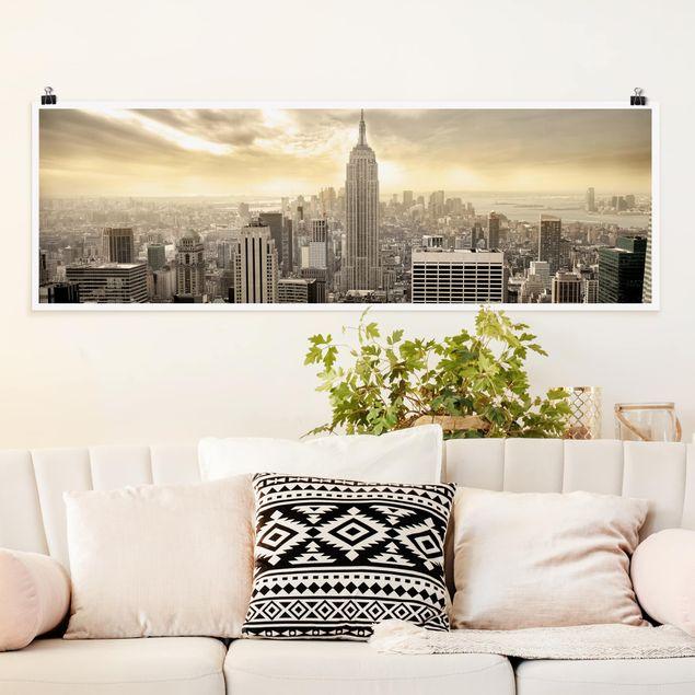 Poster - Manhattan Dawn - Panorama Querformat