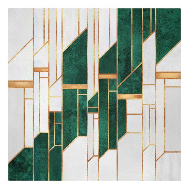 Leinwandbild - Elisabeth Fredriksson - Emerald und Gold Geometrie - Quadrat 1:1