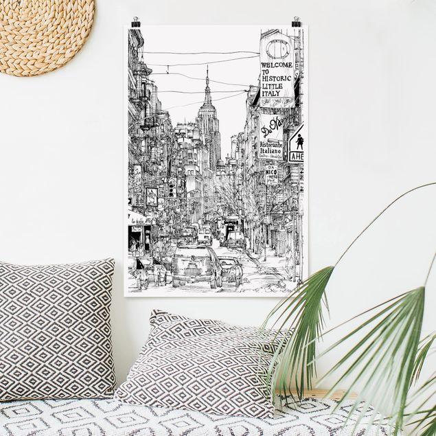 Poster - Stadtstudie - Little Italy - Hochformat 3:2
