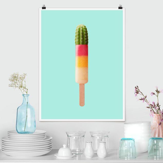Poster - Jonas Loose - Eis mit Kaktus - Hochformat 3:4